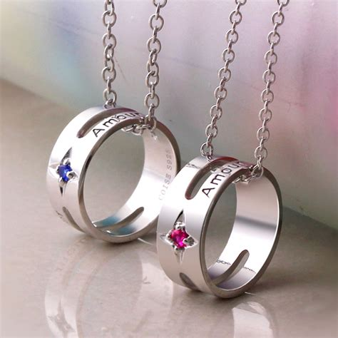 coise necklaces amour engraved circle pendant for