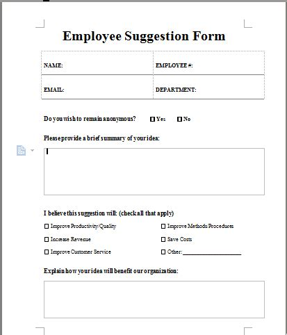 suggestion form template free employee suggestion form