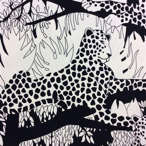 black and white home decor fabric ah148 black and white leopard safari border print home