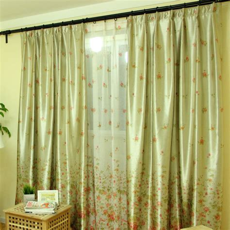 Country Style Shower Curtains Jacquard Country Style Green Floral Curtains