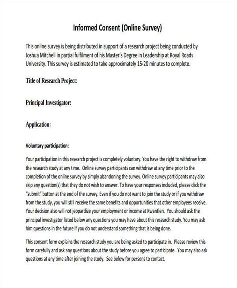 Exle Letter Of Consent Research 7 Survey Consent Form Sles Free Sle Exle Format