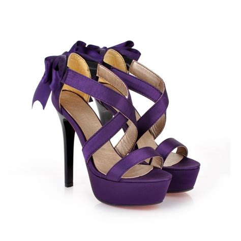 purple high heel sandals purple strappy high heel fashion sandals with bow on luulla