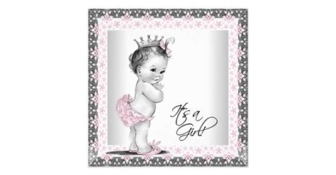 Vintage Baby 1 pink and gray vintage baby shower card zazzle