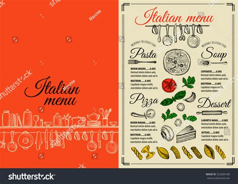 Italian Menu Placemat Food Restaurant Brochure Stock Vector 522094180 Shutterstock Placemat Menu Templates