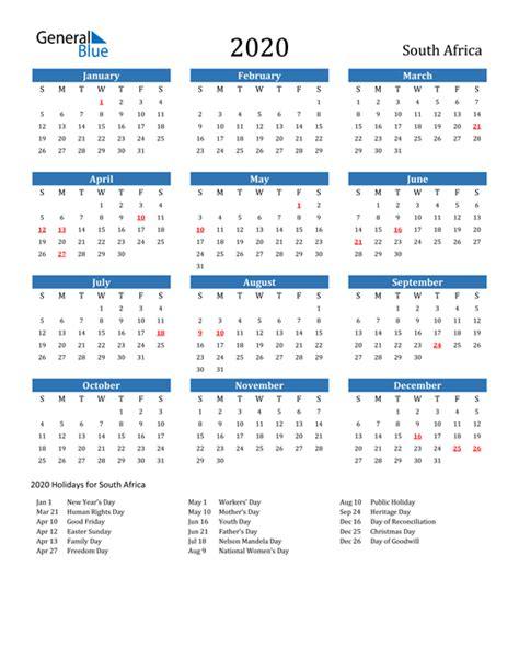 calendar south africa  holidays