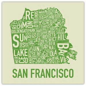 san francisco map to print san francisco neighborhood map screen print by ork posters