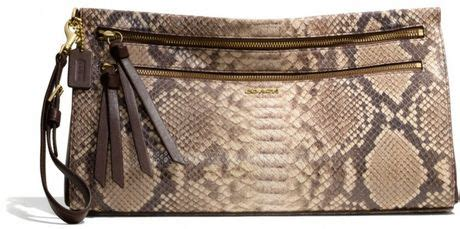 Clutch Python Embossed Gold coach large clutch in python embossed leather in