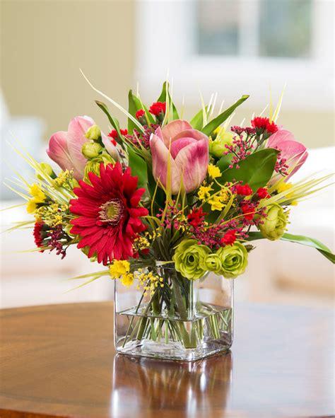 gerbera tulip silk flower centerpiece at petals