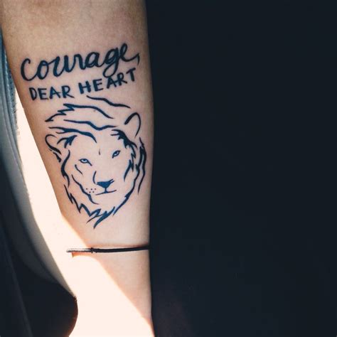 courage dear heart quote aslan tattoo ink