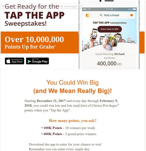 Marriott App Sweepstakes - successful entry tap that app 400 000 points sweepstakes loyalty traveler