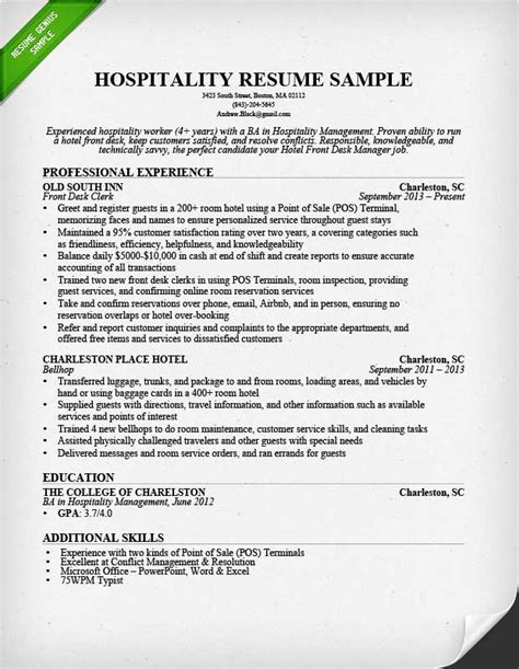 resume format for hotel hospitality resume sle writing guide resume genius