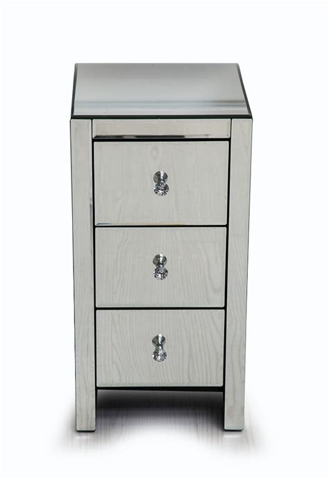 venetian mirrored glass bedside table with 3 drawers and
