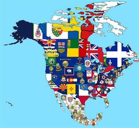 north america map with flags north american states and provinces flag map vexillology