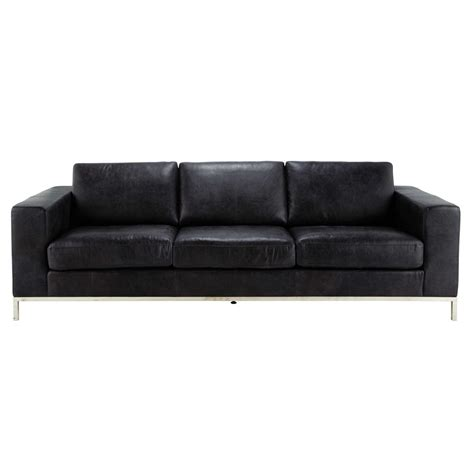 Leather 4 Seater Sofa 4 Seater Leather Vintage Sofa In Black Maisons Du Monde