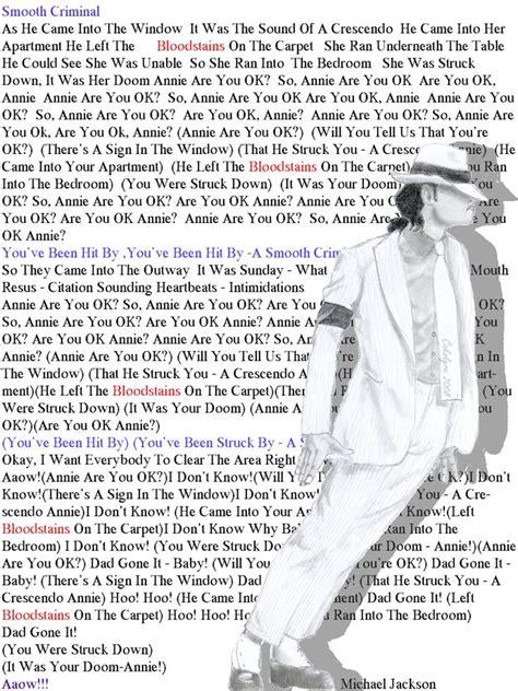 Buy Michael Jackson Kills Lyrics by Smooth Criminal Lyrics Michael Jackson By Cakolyre On