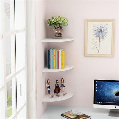 White Set 3 Floating Corner Wall Shelf Bookshelf Shelves 3 Shelf Corner Bookcase