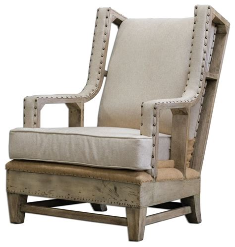 Rustic Armchair by Uttermost Schafer Linen Armchair Rustic Armchairs And
