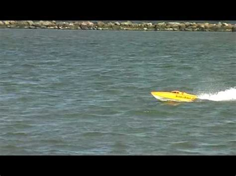 fast gas powered rc boats fast gas powered rc boat with nice jump at the end youtube