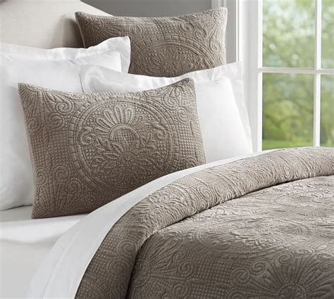 coverlet and shams velvet medallion coverlet quilt sham pottery barn