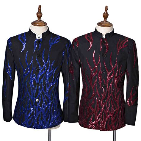 Hoodie Homecoming Anggita Fashion fashion sequins tunic suit s blazers black singer compere stage prom wedding groom