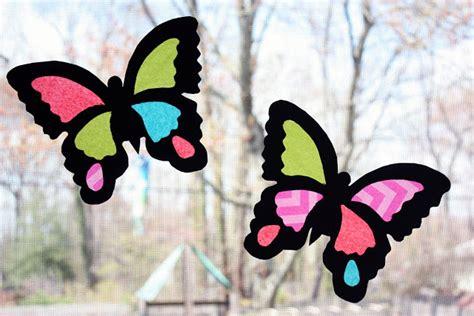 Tissue Paper Suncatcher Craft - moomama diy suncatcher butterflies
