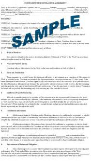 Contractor Agreement Template Canada subcontractor agreement format