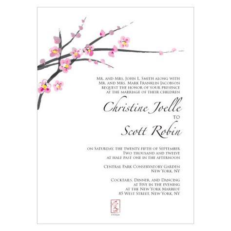 Cherry Blossom Wedding Invitations Set Of 4 Cherry Blossom Invitation Template