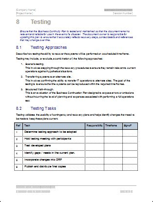 Bcp Test Plan Template business continuity plan 48 pg ms word 12