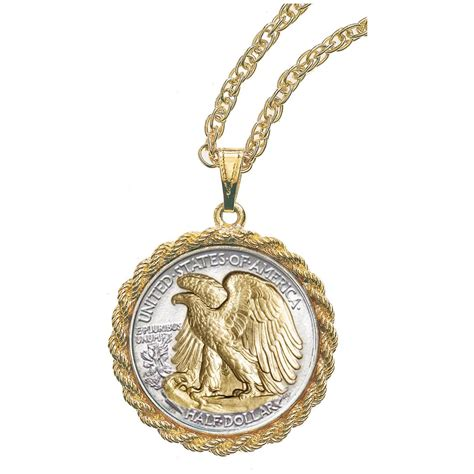 gold layered walking liberty half dollar coin pendant from