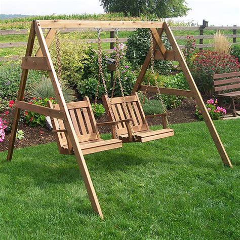 red swing set red cedar traditional english swing chair set