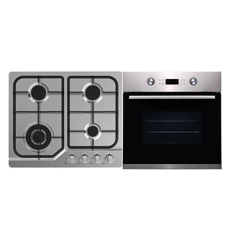 Gas Cooktop And Oven Packages bellini 60cm gas cooktop and 60cm 9 function black stainless steel electric oven package