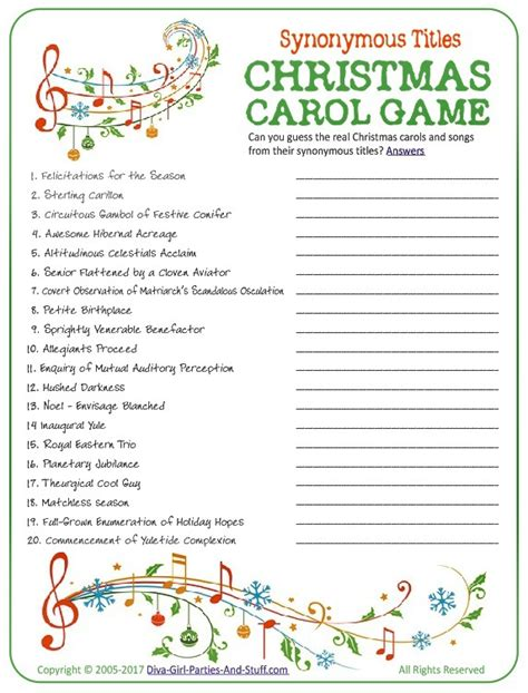 free printable christmas song games christmas carol game