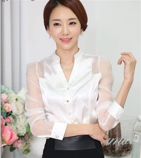 Supplier Realpict Lovely Blouse By Alijaya aliexpress buy transparent sleeve white satin blouses 2016 fall white