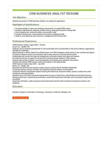 crm business analyst cv exle crm business analyst resume sle best format
