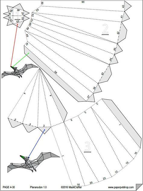 Pet Pteranodon 3d Papercraft Dinosaur Template Printable Pdf Boys G Paperpetshop Papercraft 3d Template Pdf