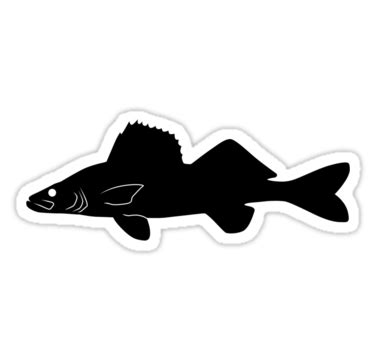 """""""walleye pike fish silhouette (black)"""" stickers by"""