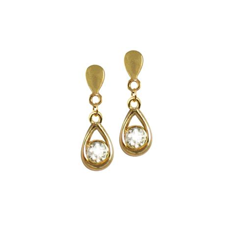 cascada gold tone clear drop clip on earrings