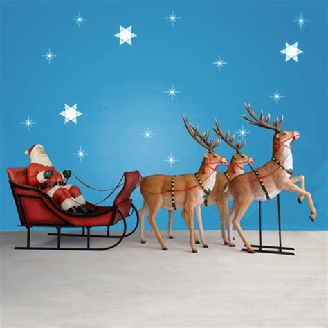 outdoor santa and sleigh 170 quot wide santa sleigh three reindeer set
