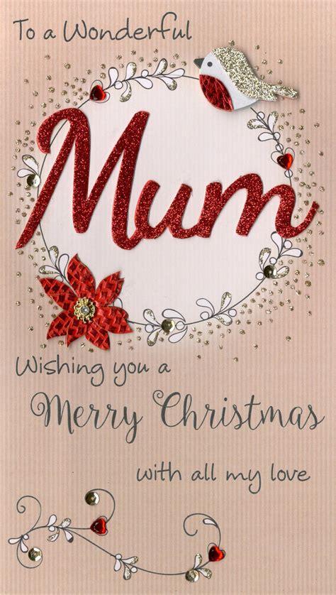 wonderful mum embellished christmas card cards