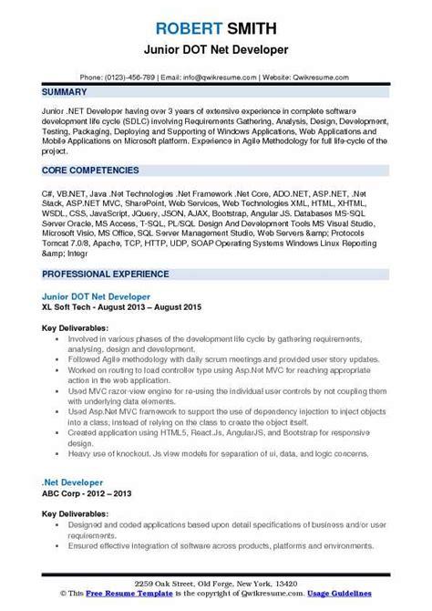 sle resume for dot net developer experience 2 years 96 net experience resume sle dot net developer resume