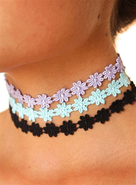 Exclusive Color Of Tatto Choker flower child choker ribbon necklace adjustable 90s