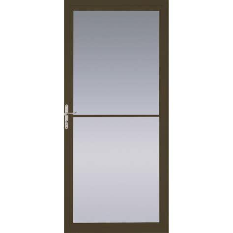 Pella Retractable Screen Door by Shop Pella Montgomery Brown Full View Aluminum Storm Door