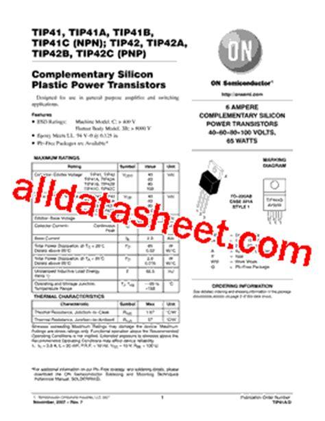 tip41 transistor datasheet pdf tip41 datasheet pdf on semiconductor