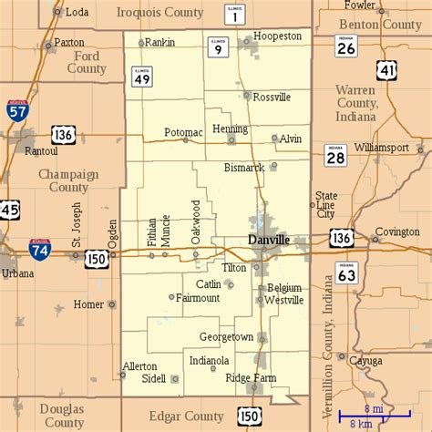 Vermilion County Search File Map Of Vermilion County Illinois Svg