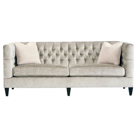Jane Hollywood Regency Mocha Wood Silver Velvet Tufted Tufted Sofa