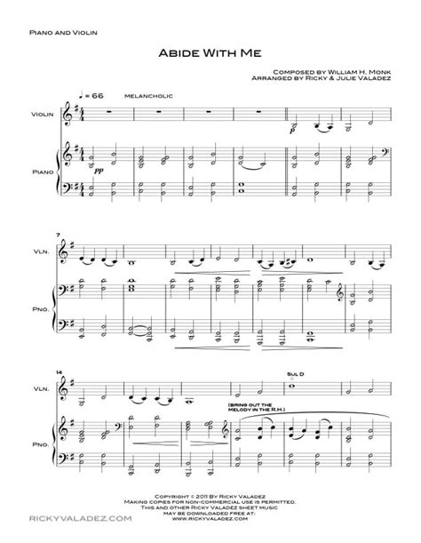 lade per pianoforte abide with me sheet for piano violin and viola