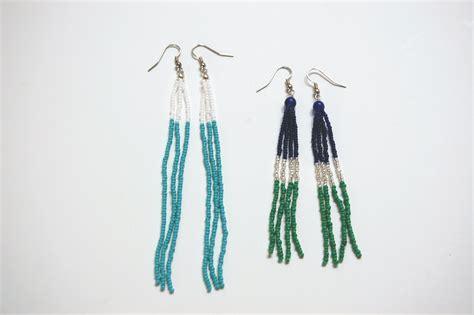 beaded tassel tutorial diy color blocked beaded tassel earrings diy in pdx