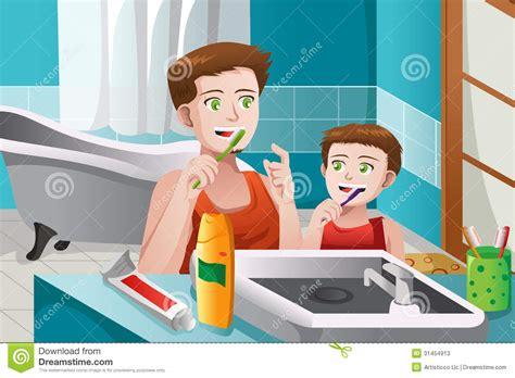 imagenes de niños lavandose los dientes gene ensinando a seu filho como escovar seus dentes fotos