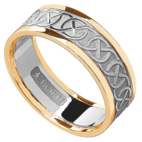 celtic ring white gold with yellow gold trim