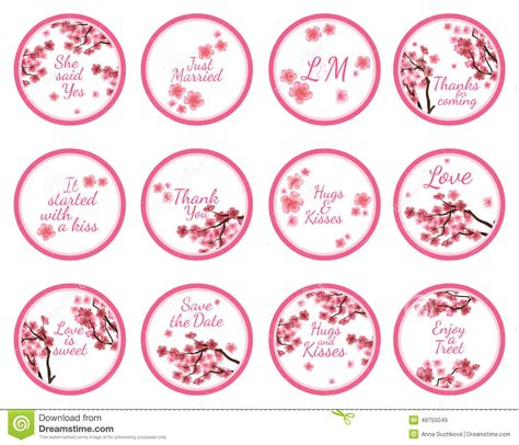 candy sticker labels with sakura stock vector image
